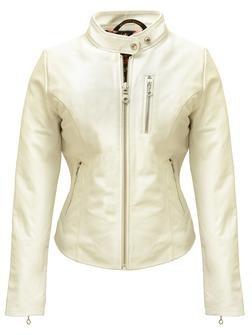 """21141W - Women's Lambskin """"Cafe"""" Leather Jacket (Offwhite)"""