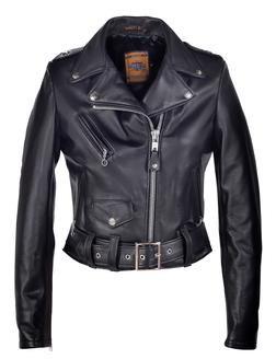 218W - Women's Cropped Perfecto Black Lambskin Leather Jacket (Black)