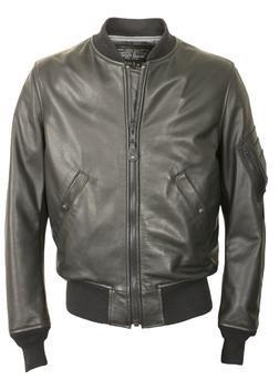 227 - Leather MA-1 Bomber Jacket  (Black)