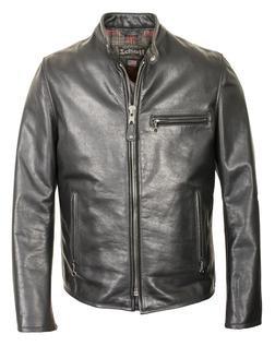 530 - Waxed Black Natural Pebbled Cowhide Café Leather Jacket (Black)