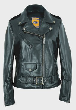"536W - Women's 23"" Lightweight Waxy Natural Grain Cowhide Perfecto Asymmetrical Leather Jacket (Black)"