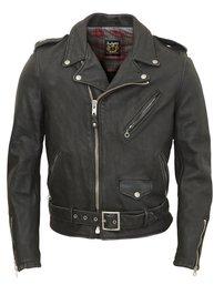 Cowhide Leather Motorcycle Jacket - Black