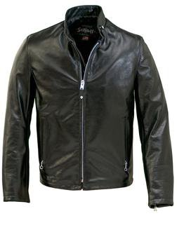 654 - Cowhide Casual Racer Leather Jacket (Black)