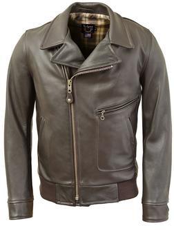 683 - Naked Pebbled Cowhide Motorcycle Police Jacket (Brown)