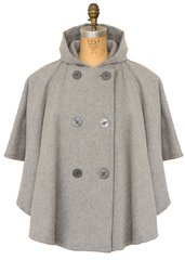 703W - Unlined double breasted cape with hood (Heather Grey)