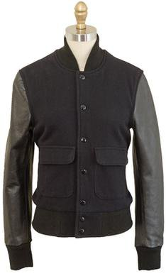 71350W - Women's Wool Varsity Jacket (Black)