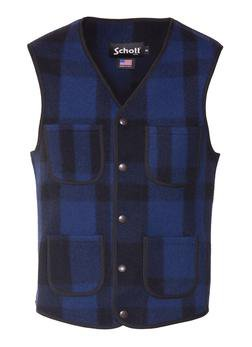 745V - MEN'S WOOL PLAID VEST (Navy)