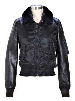 9515W - Women's nylon and  lambskin MA-1 flight  jacket