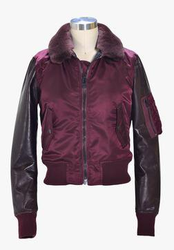 9515W - Women's nylon and  lambskin MA-1 flight  jacket (Burgundy)
