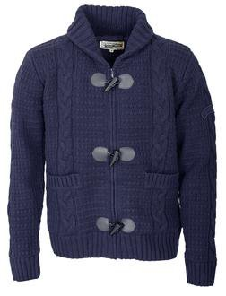 """F1328 - 26"""" Wool/Acrylic Blend Cable Knit Sweater (Navy)"""