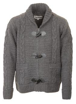 """F1328 - 26"""" Wool/Acrylic Blend Cable Knit Sweater (Charcoal)"""