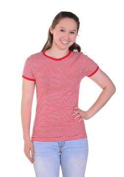 K507W - Women's Short Sleeve Striped Crew Neck (Red)