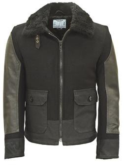 P797S - ANJ4 Leather and Waxed Cotton Bomber Jacket