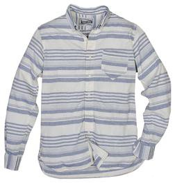 SH1323 - Lightweight Fine Weave Cotton Gauze Horizontal Striped Shirt (Blue)