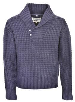 SW1372 - Wool Blend Heavy Weight ¼ Pullover Waffle Knit Sweater (Navy)