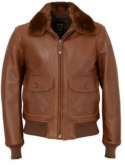 FLT6 - Naked Cowhide G-1 Leather Flight Jacket (Brandy)