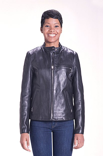 141W - Women's Classic Racer Leather Motorcycle Jacket (black)