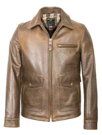 563 - Brown Leather Delivery Jacket (Waxy Cowhide)