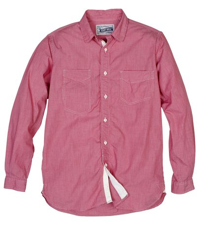 SH1327 - Fine Weave Ticking Stripe Cotton Shirt (Red) - Limited Sizes